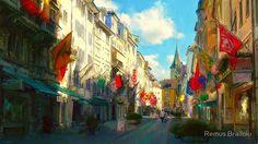 """Zurich"" Photographic Prints by Remus Brailoiu   http://www.redbubble.com/people/remuscb/works/10152222-zurich?asc=u&p=photographic-print&rel=carousel   Impressionist digital painting depicting Rennweg Street in the city of Zurich, Switzerland.   #zurich #switzerland #europe #city #cityscape #buildings #architecture #rennweg #impressionism #digitalpainting #landscape"
