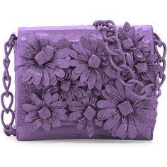 Nancy Gonzalez Crocodile Flower Chain Bag ($1,890) ❤ liked on Polyvore featuring bags, handbags, purses, clutches, lilac matte, flower purse, purple purse, chain strap purse, chain handle handbags and purple handbags