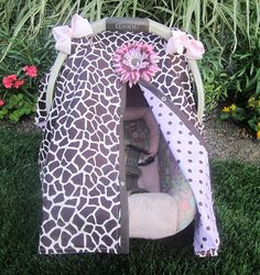 Car seat cover / car seat canopy / pink giraffe by SooShabbyChic, $35.99