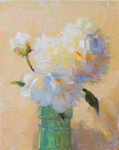 "Daily Paintworks - ""White Peonies,still life oil o..."" by Joy Olney"