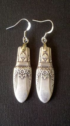 Recycled Silverware Spoon Handle Earrings First Love Pattern Vintage Silverplated Flatware Jewelry