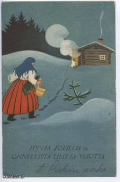 Martta Wendelin Christmas Past, Retro Christmas, Christmas Themes, Christmas Holidays, Christmas Cards, Xmas, Scandinavian Art, Scandinavian Christmas, Vintage Books
