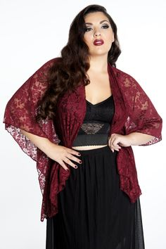 Domino Dollhouse - Plus Size Clothing: Lace Kimono in Burgundy