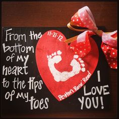 Baby footprint craft ... This would be so cute for valentines day or fathers day.