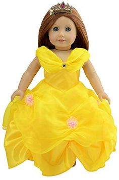 Dreamtoyhouse American Girl Doll Clothes Princess Belle Royal Ball Gown Doll Dress & Golden Hairpin for 18 Inch Dolls and Similar