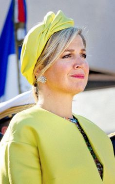 Queen Máxima on June 6, 2014 in Fabienne Delvigne  Hat, for the celebrations of D-Day in Normandy, France