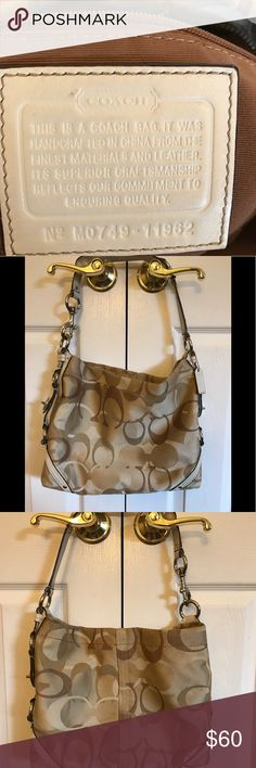 Coach Optic Signature Slim Carly Bag Good condition. This shoulder bag is brown and tan and perfect for everyday use. It does have some markings as it was well-loved. It's still durable and sturdy like all Coach products. Coach Bags Shoulder Bags