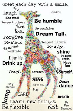 Dream Tall with positive attitude. giraffe art and inspiration Attitude Positive, Positive Thoughts, Positive Quotes, Attitude Quotes, Positive Changes, Negative Thoughts, The Words, Quotes To Live By, Me Quotes