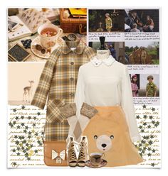 """- I'd Rather Be In Trouble With You"" by shellebelle ❤ liked on Polyvore featuring McGuire, Sally Scott, VIVETTA, La Perla, MoonriseKingdom, wesanderson, plaidcoat and animaldress"