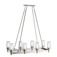 Kichler Circolo Brushed Nickel Modern/Contemporary Clear Glass Chandelier at Lowe's. The Circolo 8 light linear chandelier features a Brushed Nickel finish and clear outer and satin etched inner glass cylinders for a classic look. Rectangular Chandelier, Linear Chandelier, Chandelier Ceiling Lights, Contemporary Chandelier, Ceiling Fans, Contemporary Design, Dining Chandelier, Crystal Chandeliers, Kitchen Island Lighting