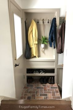 Apr 3 2020 Wish you had space for a mudroom? We made an organized entryway mudroom space in a tiny sta Small Entryways, Small Hallways, Small Storage, Built In Storage, Entryway Storage, Organized Entryway, Shoe Storage Narrow Hallway, Mudroom Storage Ideas, Small Entryway Organization