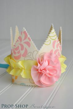 Girls Ruffled Rosette Fabric Crown, Dress up, Birthday Hat, Photo Prop--prop sho pboutique