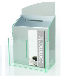 Silver Acrylic Suggestion Boxes, Counter or Wallmounted