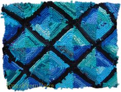 """So love these colors.  Teal Log Cabin hand knit rag rug (sold); an early experiment in the diversity of colors loosely called """"teal"""" or """"#turquoise."""""""