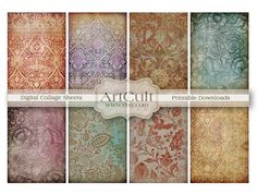 16 LITTLE BACKGROUNDS   Digital Collage Sheet Printable by ArtCult,