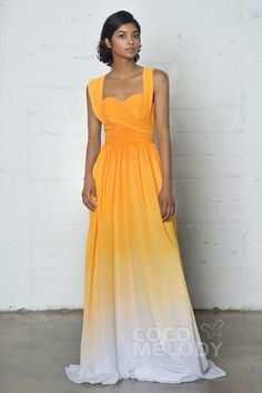 Perfect Sheath-Column Sweetheart Natural Floor Length Ombre Chiffon Sleeveless Zipper Dress with Pleating COZF17011
