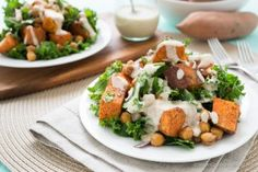 tahini dressing on sweet potato kale salad