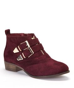 Take a look at this Burgundy Double Buckle Ankle Boot by Fashion Focus on #zulily today! I love English fashion since I grew up in the 60's. These are perfect with a mini.