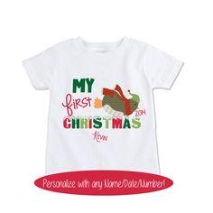 Custom My First Christmas Shirt Boys or Girls Xmas by Exit17