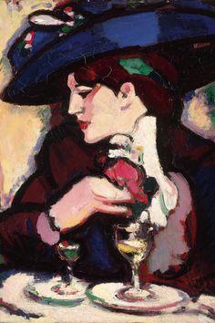John Duncan Fergusson The Blue Hat Closerie des Lilas 1909 Figure Sketching, John Duncan, Lovers Art, Artist, Portrait Painting, City Art, Scottish Art, Portrait Art, Scottish Colourists