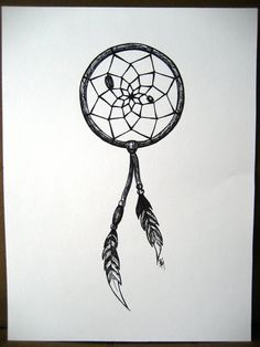 Dreamcatcher Marker Drawing with Feathers 9 x by katherinebriana, $22.00