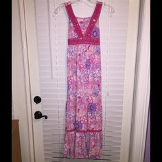 """SALE ✨kid's pink floral maxi dress✨ To-ankle pink and purple floral dress from Justice. Worn only once, in very good condition. About 41"""" from shoulder to hem. If you have any questions please don't hesitate to ask. ☺️ Keep in mind this is from Justice, it may not fit an adult. Justice Dresses Maxi"""