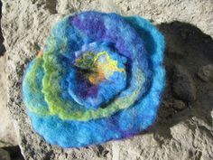 Felted Blue Flower Brooch Blue Turquoise Lime Yellow by AmareteArt