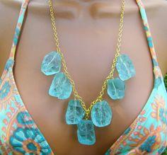 Raw Aqua Stone Bib Necklace