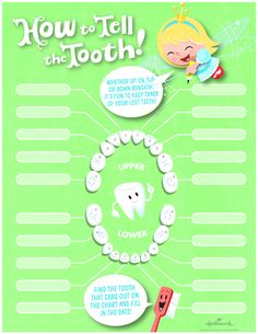 Free Tooth Fairy Printables: Lost Tooth Chart | Use this fun Tooth Fairy chart to keep track of lost baby teeth and create a lasting childhood memento. Just find your child's lost tooth on the chart and fill in the date! #Hallmark #HallmarkIdeas