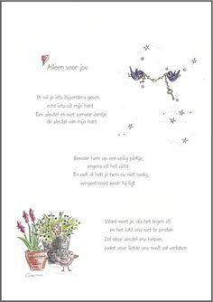 Wenskaart ` Alleen voor jou ` ( met sleutel ) My Children Quotes, Dutch Words, Dutch Quotes, Sweet Messages, Live Happy, Student Gifts, Love Notes, Friendship Quotes, Love Life
