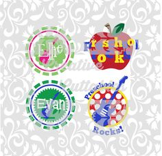 SVG Back to School Preschool Rocks for  Silhouette or other craft cutters (.svg/.dxf/.eps)