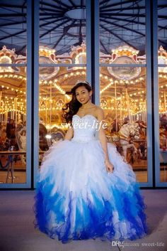 2015 Exquisite Quinceanera Dresses Ombre White Blue Ball Gown Sweetheart Ruffled Organza Sequins Lace Up Vestidos De Fiesta Sweet 16 Dresses