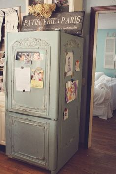 This is a gorgeous refridgerator make-over ~ from Trois Petites Filles: Old Fridge turned shabby French