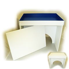"""Deluxe American Made Sand Tray & Stand - This unique and attractive sand tray has a white exterior and a bright blue interior with interior dimensions of 28.5"""" x 19.5"""" x 3"""" This sand tray is made entirely of durable PVC plastic which is both waterproof and lightweight. Designed with the child in mind, all seams are smooth and rounded. PVC was selected for its superiority to wood in ease of cleaning and control of microorganisms.  $309.95"""