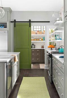 Green pantry barn door