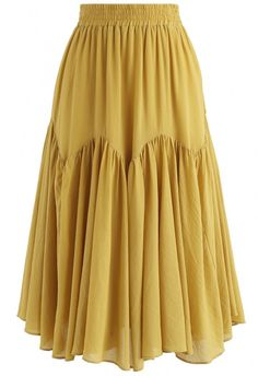 Brightening Your Beauty Midi Skirt in Mustard - Retro, Indie and Unique Fashion