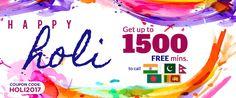 Happy Holi-- Get up to 1500 free minutes to call India, Pakistan,Bangladesh,Nepal & Srilanka - Valid for both NEW & EXISTING customers. Pakistan Bangladesh, Long Distance Calling, International Calling, Existing Customer, Happy Holi, Calling Cards, Peace Of Mind, Nepal, India
