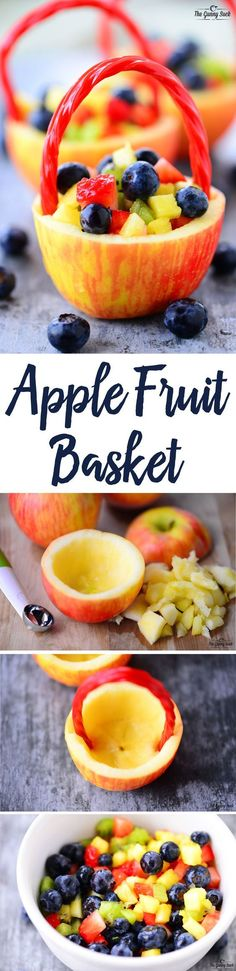 Apple Fruit Baskets have a hollowed out apple as a basket, a licorice handle and fresh, colorful fruit inside. This healthy Easter basket is irresistible! #easter #fruit