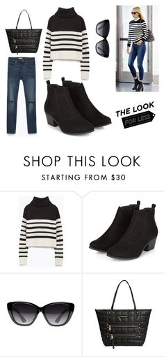 """Look For Less: Denim + Stripes"" by leiastyle on Polyvore featuring Zara, Elizabeth and James, Under One Sky, denim and stripes"