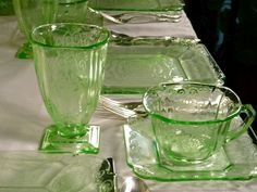 I've yet to set a table with my Depression Glass but this photo looks VERY lovely and I have all the pieces :)