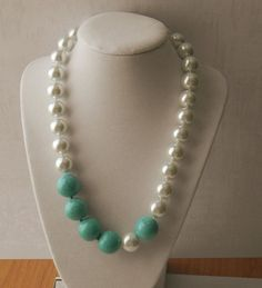 Pearl and Turquoise Necklace Chunky Necklace by JulieEllisDesigns