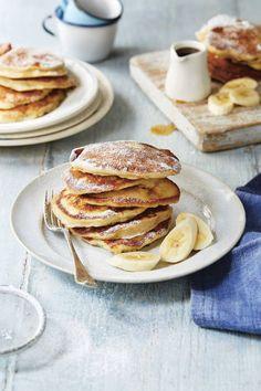 Banana pancakes recipe from Breakfast: Morning, Noon & Night by Fern Green Savory Breakfast, Sweet Breakfast, Breakfast Recipes, Banana Breakfast, Banana Pancakes, Pancakes And Waffles, Waffle Recipes, Smoothie Recipes, Food Inspiration