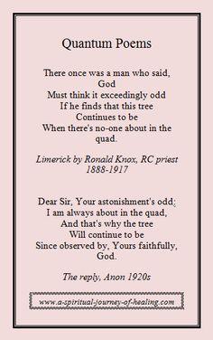 Delightful short quantum physics poems on www.a-spiritual-journey-of-healing.com/science-mysticism-spirituality.html #poetry #quantum
