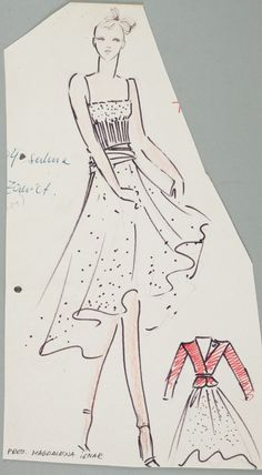 Magdalena Ignar, Projekt ubioru kobiecego, lata 80., wł. MNK  #PRL #Moda Polska #Polish Fashion #Magdalena Ignar