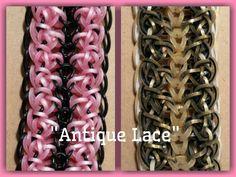 """Antique Lace"" Hook Only Rainbow loom Bracelet/How To Tutorial Loom Band Bracelets, Rubber Band Bracelet, Lace Bracelet, Rainbow Loom Tutorials, Rainbow Loom Patterns, Rainbow Loom Charms, Rainbow Loom Bracelets, Loom Love, Loom Craft"