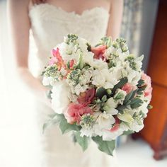 Pink, Green and White Bouquet - Freesias Wedding Wednesdays: Fall Floral! www.sweetswithfreaks.blogspot.com