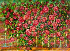 """Buy Painting """"Red roses"""" Original oil painting by artist Valery Rybakow. Palette knife painting for sale on canvas. Rose Oil Painting, Oil Painting On Canvas, Artist Painting, Knife Painting, Original Paintings For Sale, Buy Paintings, Red Flowers, Red Roses, Abstract Flowers"""