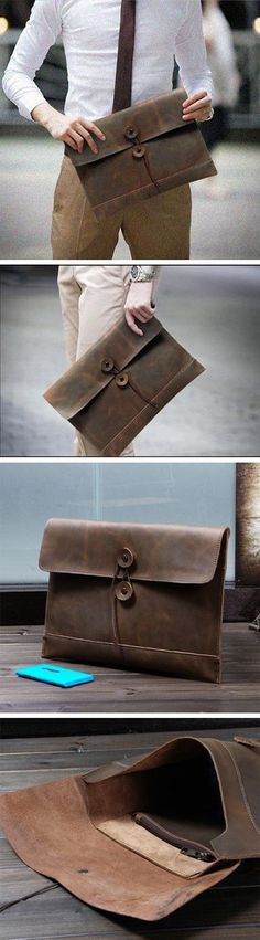 Business Men's Handmade Vintage 100% Genuine Leather Envelope Clutch Bag in Coffee