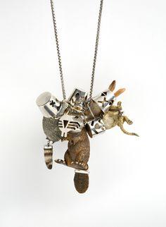Felieke van der Leest Necklace: Incognitos Anonymous 2011 Plastic animals, silver, glass beads, textile, leather Pendant: 8 x 8 x 8 cm