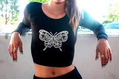Black Long Sleeve Crop Top-Butterfly Long Sleeve by ZellyaDesigns